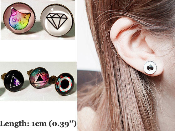 Punk Dreamy Starry/Geometry Patterns Glass Earring Studs - lilyby