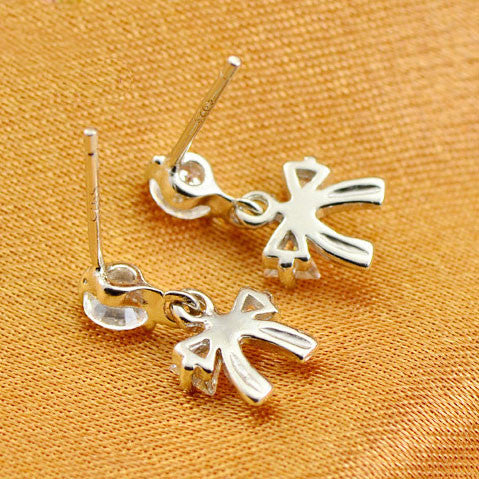 Sweet Crystal Bowknot Silver Earrings Studs