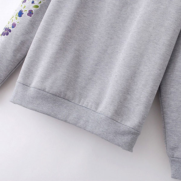 Unique Purple Floral Printed Sleeves Sweater