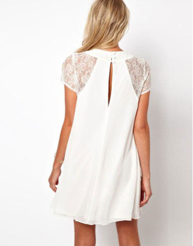 Lace Sleeve Rip Back Chiffon Dress - lilyby