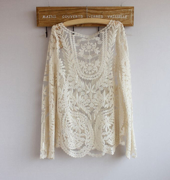 Sexy Lace Gradient Pierced Perspective Long-sleeved Shirt - lilyby
