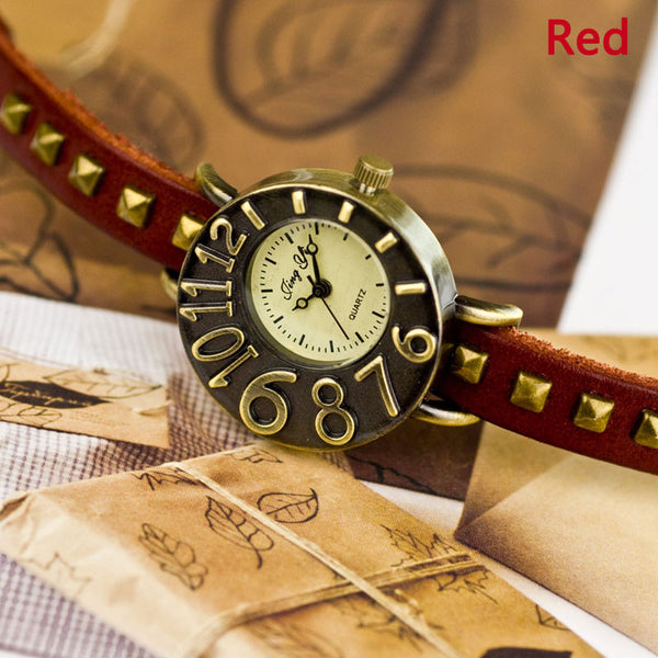 Dimensional Dial Leather Rivet Retro Watch - lilyby