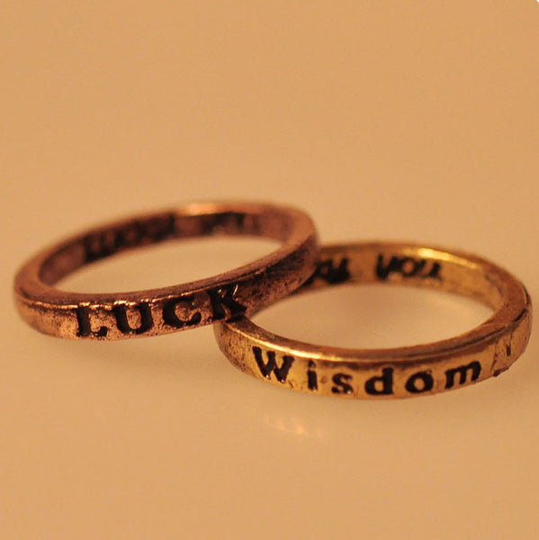 Punk Retro Lettering Wishing Ring - lilyby