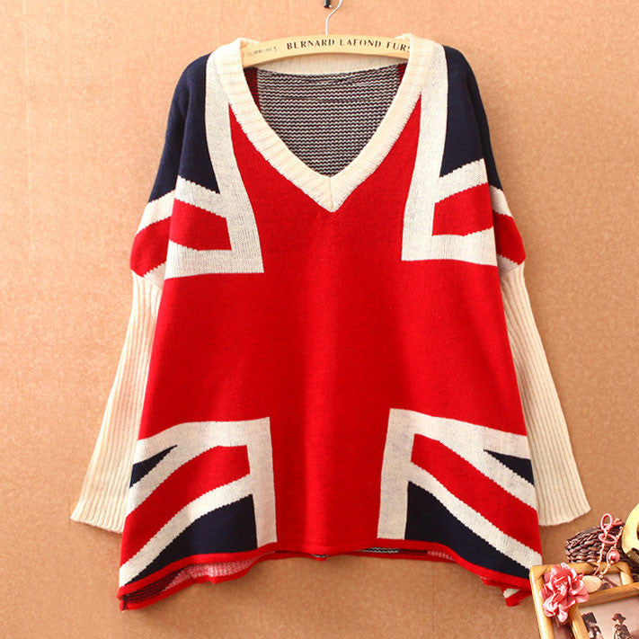 British Flag Bat Sleeve Loose Sweater - lilyby