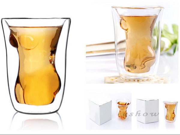 Naked Beauty Transparent Whiskey Beer Glass Cup - lilyby