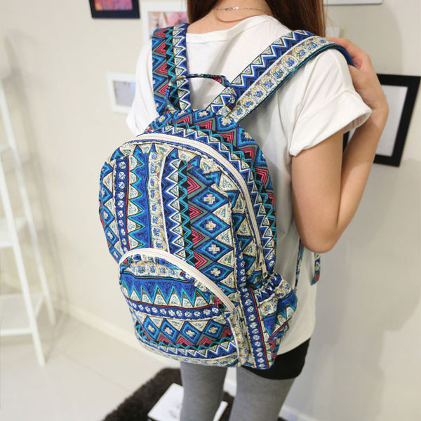 Folk Geometric Floral Print School Backpack - lilyby