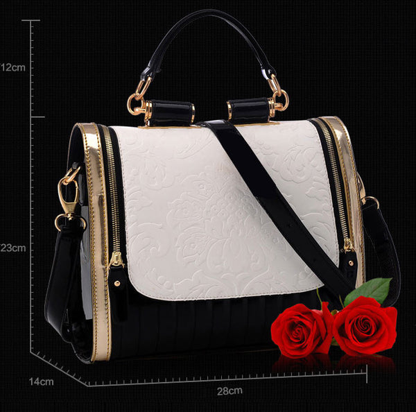 Elegant Contrast Color Rose Pattern Handbag - lilyby