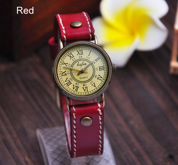 Retro Roman Scale Leather Watch - lilyby