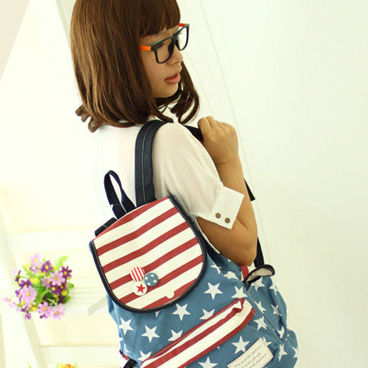 Fresh America Flag Striped Star Students Canvas Backpack - lilyby