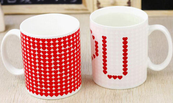 Funny Gift Color-changing Mug Red Heart Pattern Cup - lilyby