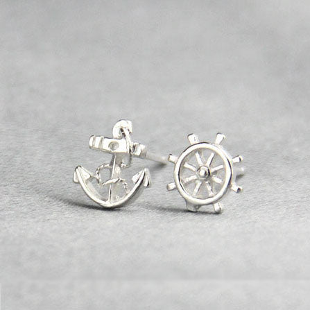 Navy Anchor Rudder Silver Earring Stud - lilyby