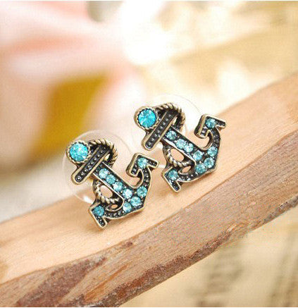 Retro Fashion Navy Rhinestone Anchor Earrings - lilyby