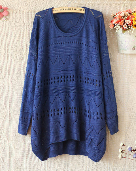 Loose Crimping Neck Long sleeve Hollow Sweaters - lilyby
