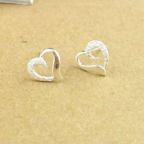Romantic Heart-Shaped 925 Sterling Silver Earrings - lilyby