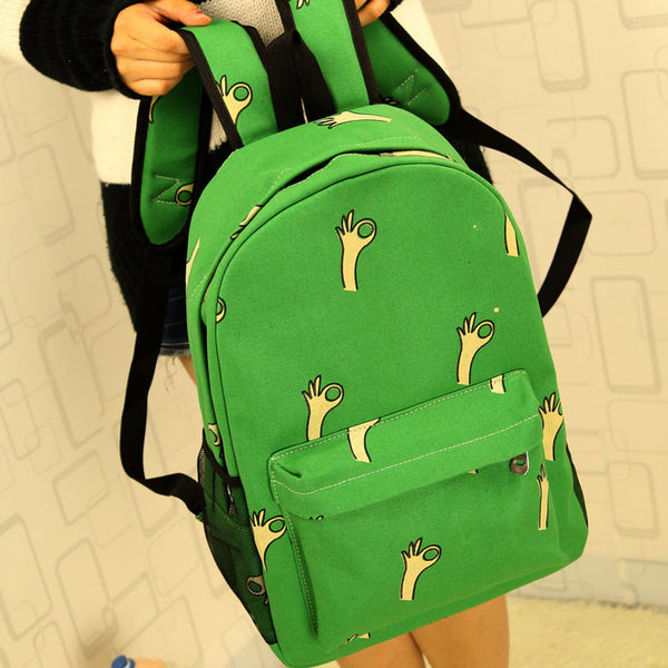 Cute Banana & Leeks & Hands Print Canvas Backpack - lilyby