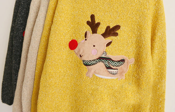 Christmas Deer Red Nose Sleeve Sweater - lilyby