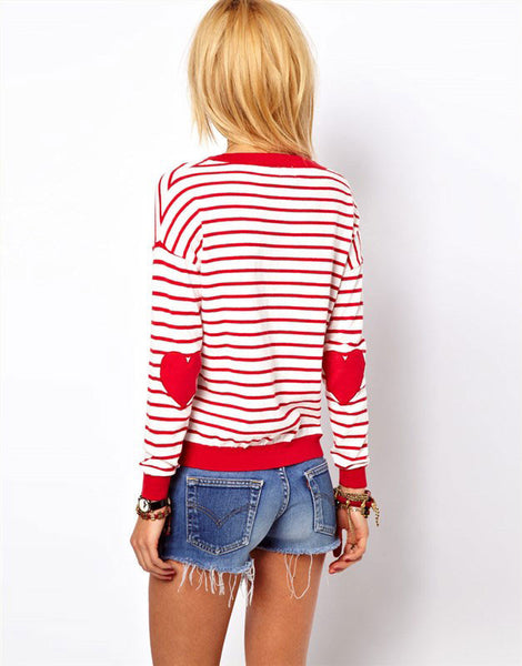Unique Love Sleeve Embroidered Striped  Sweater&Cardigan