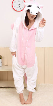 Cute Style Flannel Cartoon Unicorn Animal Piece Pajamas - lilyby