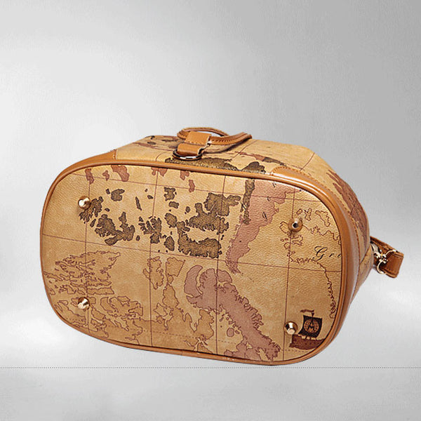 Retro Unique World Map Handbag Shoulder Bag