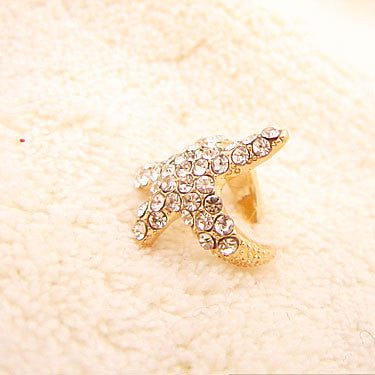 Cute Shiny Rhinestone Starfish Ear Clips - lilyby