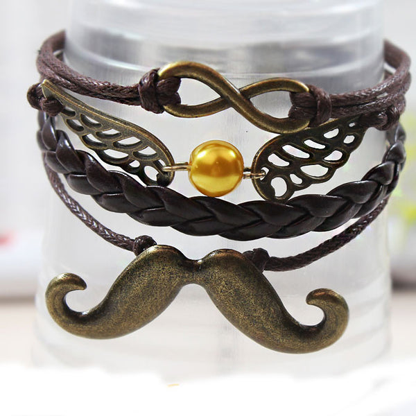 Retro Beard Wings Infinity Bracelet - lilyby