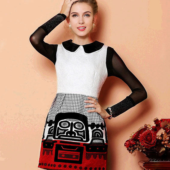 Retro Palace Folk Fashion Totem Sleeveless Party Dress &Dress - lilyby