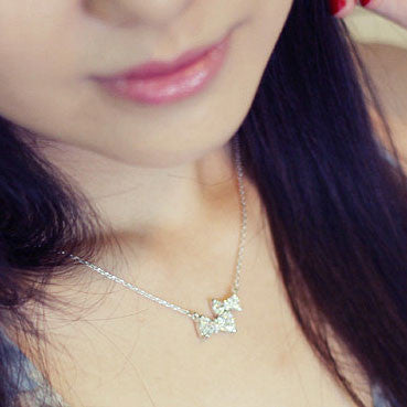 Cute Two Bowknot Rhinestone Pendant Necklace - lilyby