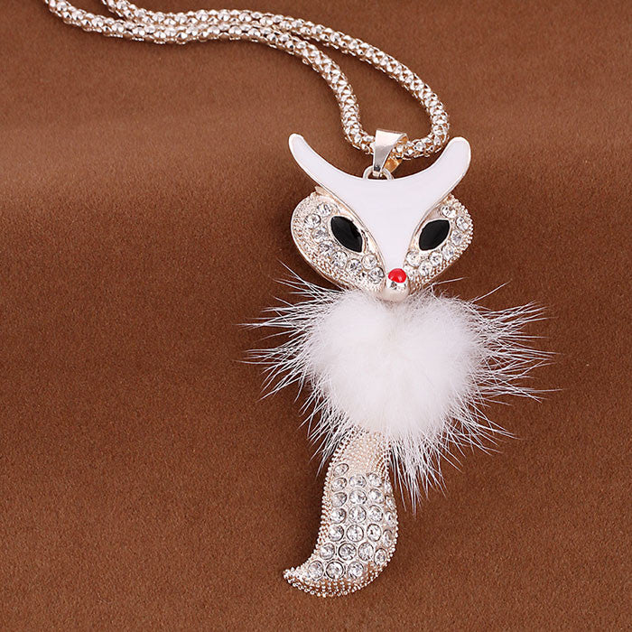 Shine Rhinestone Fox Plush Long Sweater Necklace