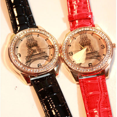 The retro rhinestone trim  Eiffel Tower Watch