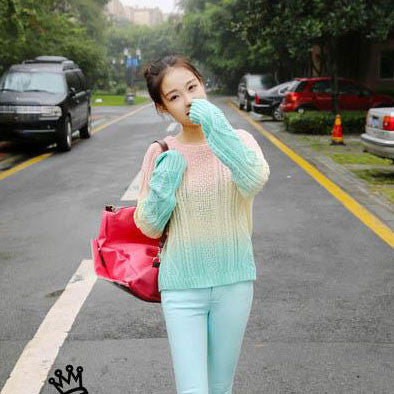 Pretty Gradient Color Knit Sweaters - lilyby