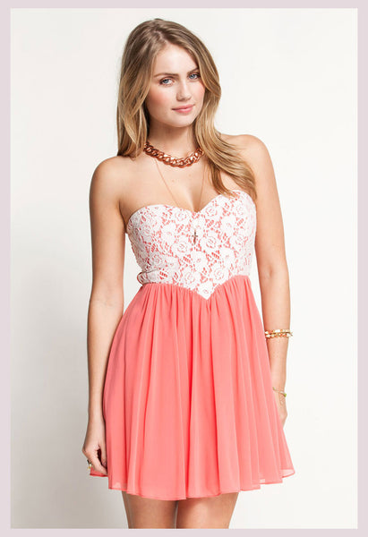 Nice Pink Lace Tee Dress - lilyby