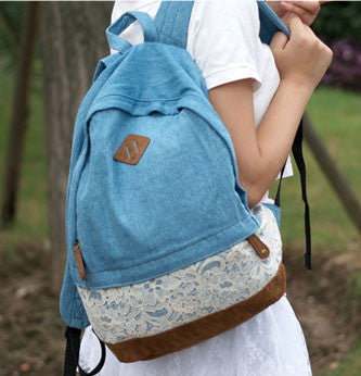 Fresh Denim Dot Lace Student Backpacks - lilyby
