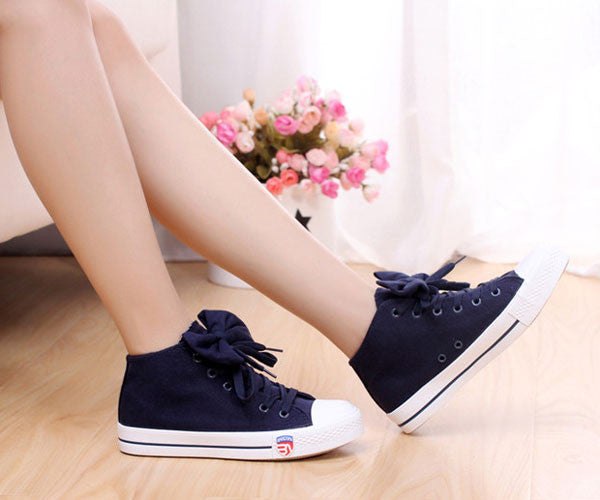 Version Of Sweet Casual Bow Tie Flat Canvas Shoes