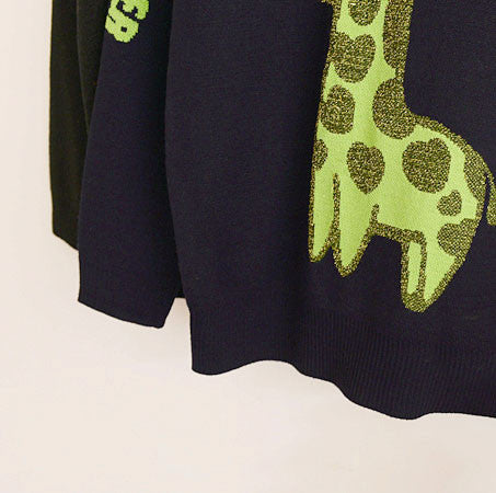 Cartoon Giraffe Gold Letters Jacquard Sleeve Sweater - lilyby