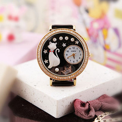 Cute Cat Crown Pearl Rhinestone Trim Watch - lilyby