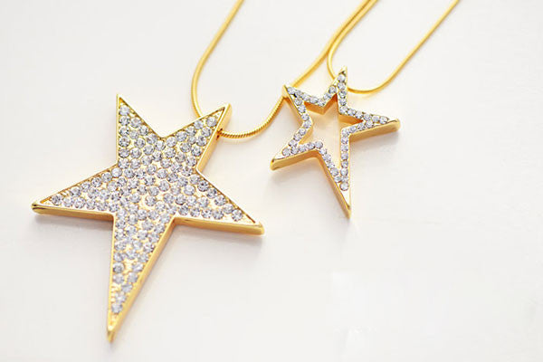 Double Stars Rhinestone Sweater Chain Long Necklace - lilyby
