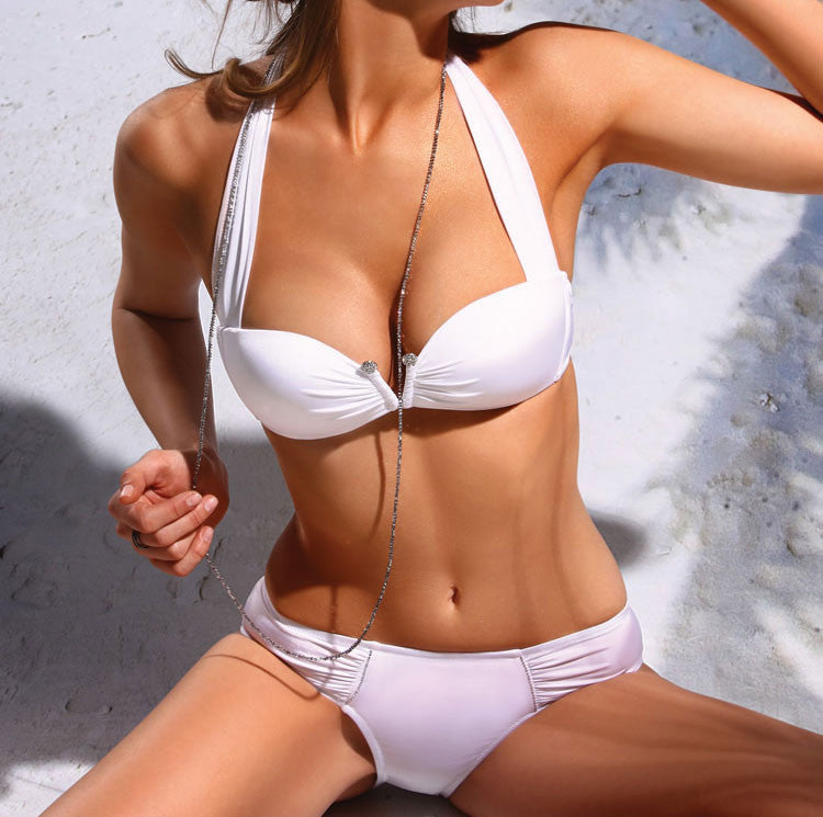 Sexy White Gather Sling Bikini & Swimsuit