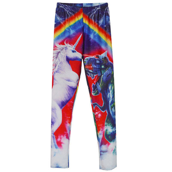 Punk RainBowknot Color Printing Graffiti Leggings - lilyby