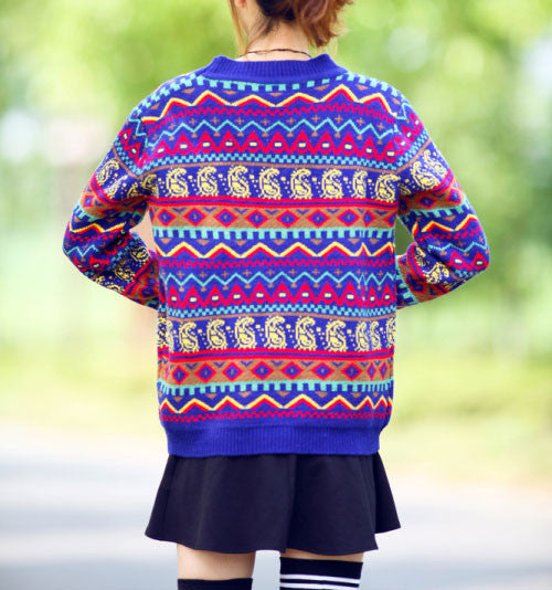 Retro  Folk Fashion Geometry Striped  Loose Sweater - lilyby