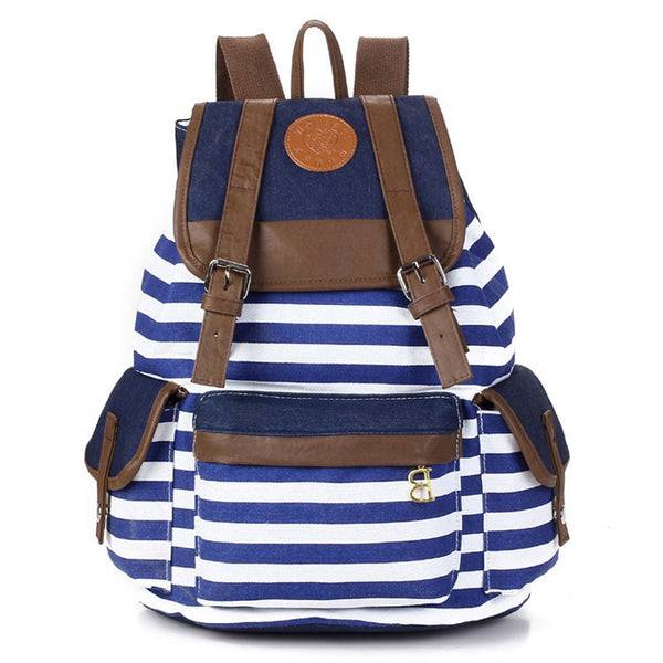 Retro Navy Stripe Print Latest Backpack - lilyby