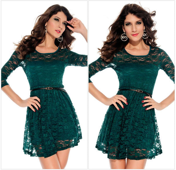 Fashion Lace Printing Slim Dress&Party Dress - lilyby