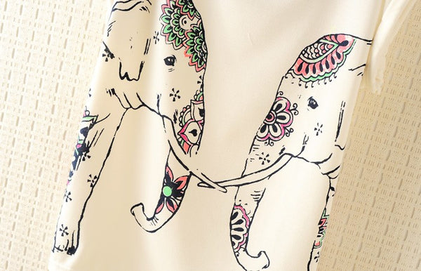 Colorful Elephants Batwing Sleeve T-shirt - lilyby