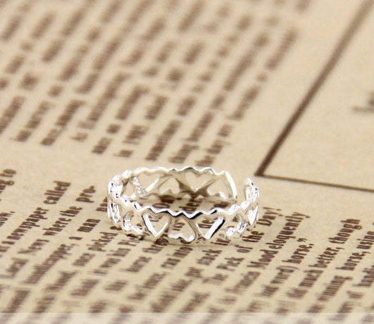 Hollow Heart-Shaped Opening Silver Rings - lilyby