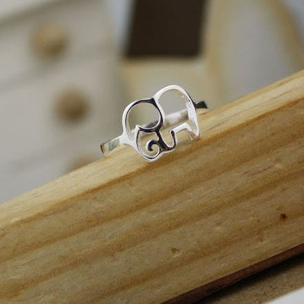 Cute Simple Hollow Elephant Silver Ring - lilyby