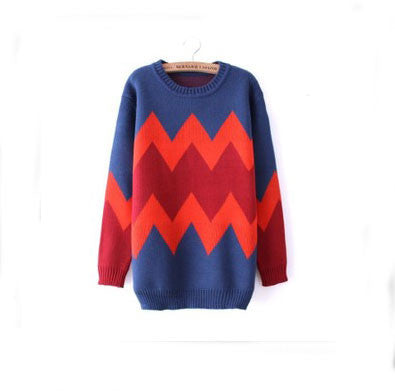 Retro Geometric Texture Slim Sweater - lilyby