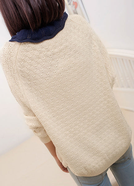Fresh Loose Hollow Lapel sweater - lilyby