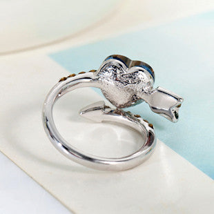 Romantic Arrows Of  Love Heart Crystal Ring - lilyby