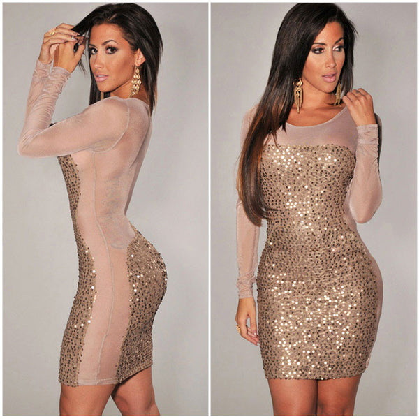 Nice New Sexy Long Sleeve Sequin Dress - lilyby