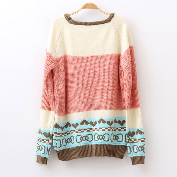 Cute Bowknot Pattern Mixed Colors Sweater - lilyby