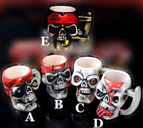 Individualized Pirate Skull Half Handmade Ceramic Cup - lilyby